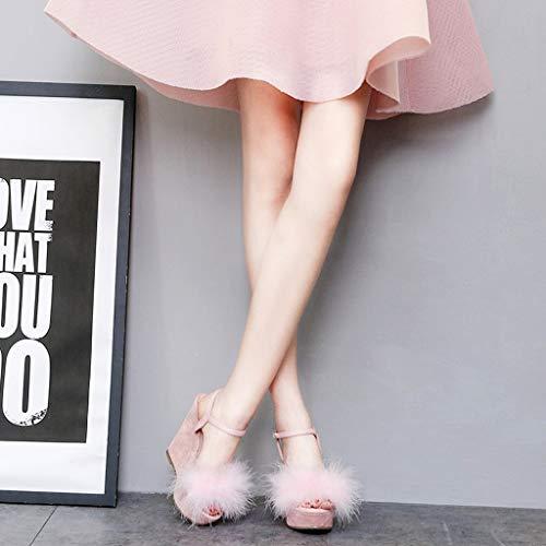 sauvages à pour cm femmes vêtements talons à personnalisées chaussures Casual 12 avec à talons Sandales été à la fille mode rose hauts hauts talons hauts axvqgXwR