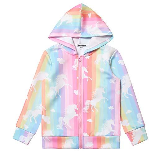 Girls Rainbow Unicorn Jackets 4t 5t Kids Hoodie Halloween Costume -