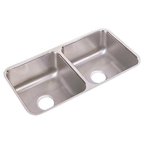 Elkay Lustertone ELUH3116 Equal Double Bowl Undermount Stainless Steel Kitchen Sink (Undermount Double Gourmet Bowl)