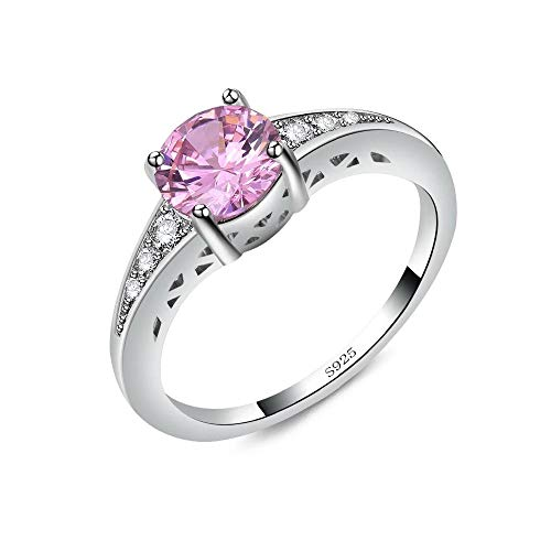 Cubic Ring Pink Zirconia - BLOOMCHARM Pink-Collection Pink Charm Rings for Women Wedding Engagement Party Cocktail Lounge (7 7mm Pink-Stone, 8)