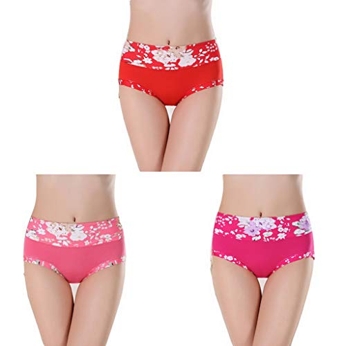 3 Pcs Underwear Women Panties Cotton Briefs Calcinhas Thong Lingeries G-String Plus Size Panty(4,M) ()