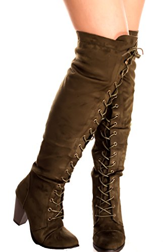 FOREVER LINK BOOTS LACE UP FAUX SUEDE ABOVE THE KNEE Olive-camila-47 URqyDGji