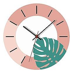 SHMB Creative Fresh Green Plant Wall Clock Acrylic Material, Living Room Bedroom Children's Room Green Plant Mute Clock Table, 12 inches,B