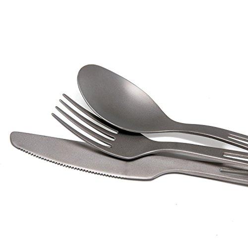 HealthPro Ultra Lightweight Super Strong Titanium Cutlery Set (Fork, Spoon, Knife)