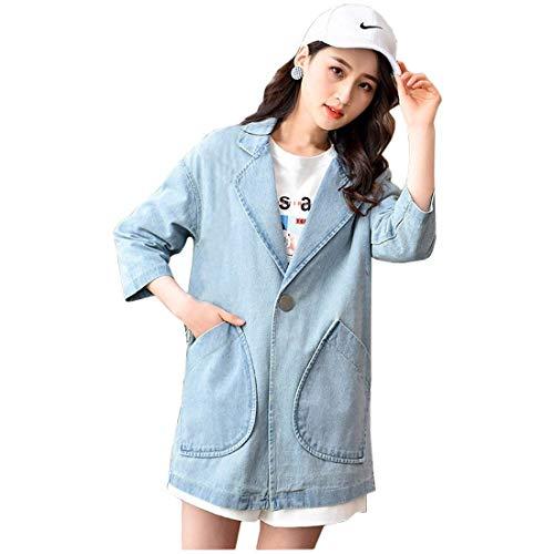 Elegante Confortevole Button Chic Fashion Outerwear Blau Cute Jacket Cappotto Lunga Con Jeans Donna Casuale Manica Puro Autunno Colore Primaverile Vintage Hipster Tasche HYFn7