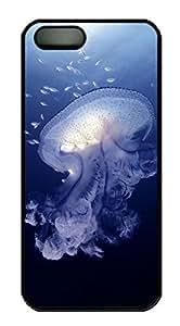iphone 5c Case, Unique Custom Design Jellyfish Hard PC Black Case Cover for iphone 5c