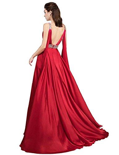Red Evening Split Formal Side Beading Dress Womens Prom Dress line Neck A Chiffon Long V q4Bxn7w6Ff
