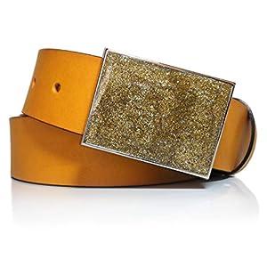 almela - Cinturón de Hombre y Mujer amarillo - Piel legítima - 4 cm de ancho - Cuero - Hebilla chapón - Placa - 40mm | DeHippies.com