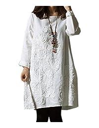 Hole Tide Women's Long Sleeve 3D Floral Cotton & Linen Oversized Blouse Dress