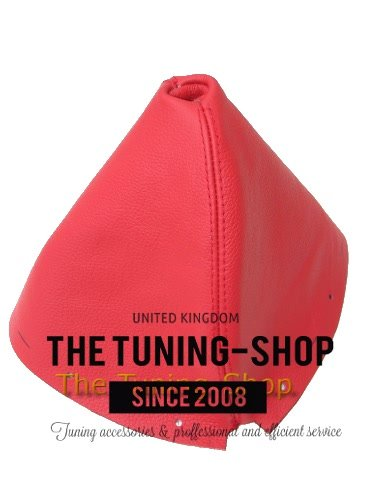 The Tuning-Shop Ltd for Infiniti G35 Coupe 2002-2007 Shift Boot Red Genuine Leather