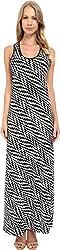 Calvin Klein Women's Maxi Dress with Razor Back CD4A8HER Black/White Dress 2