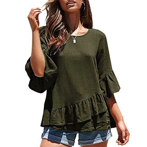 Miuye Womens Tops Casual Half Sleeve Blouse Loose Ruffle Hem Summer T-Shirt Elegant O-Neck Tunic Tee (XL, Army Green) (Ruffle Bottom Tunic)