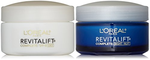 L'Oreal Paris RevitaLift Anti-Wrinkle + Firming Bundle: Day Cream SPF 18 + Night Cream, 1.7 Ounce Each -