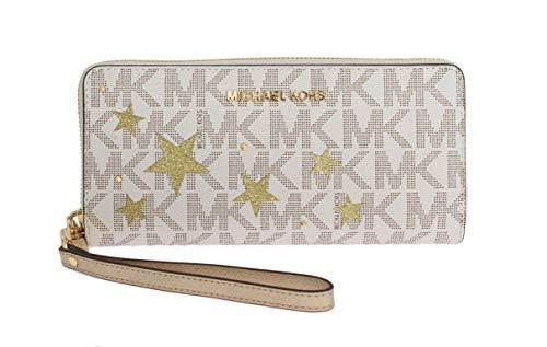 MICHAEL Michael Kors Signature Jet Set Travel Continental Wallet Vanila/Gold