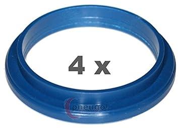 4 x Zentrierringe 74.1 mm auf 57.1 mm blau//blue