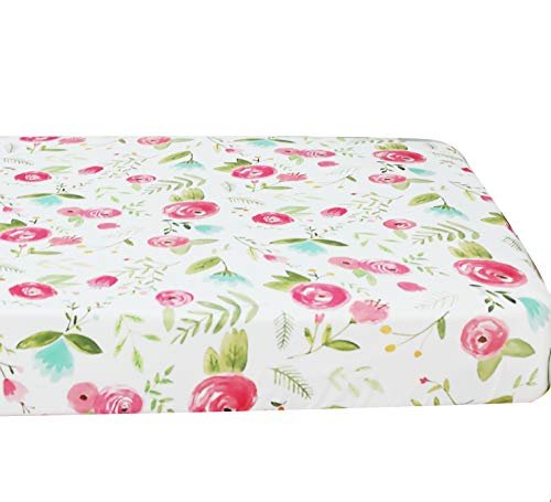 Sahaler Baby Floral Fitted Crib Sheet for Boy and Girl Toddler Bed Mattresses fits Standard Crib Mattress 28×52 (Pink Roes)