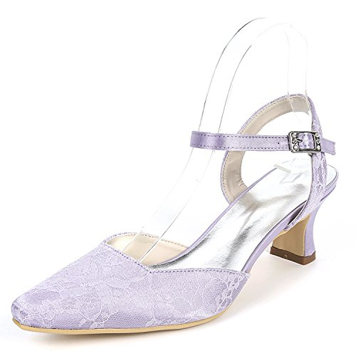 Femmes L Dress Chaussures De Chaton Satin 5cm Boucle Fermé Purple Mariage Toe Talons Handmade Soie YC 5 Chunky Hauts pIr6wI