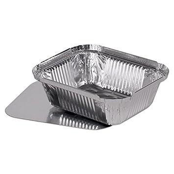 100 bandejas de aluminio rectangular de pequeñas + tapa de caja de cartón (Watts)