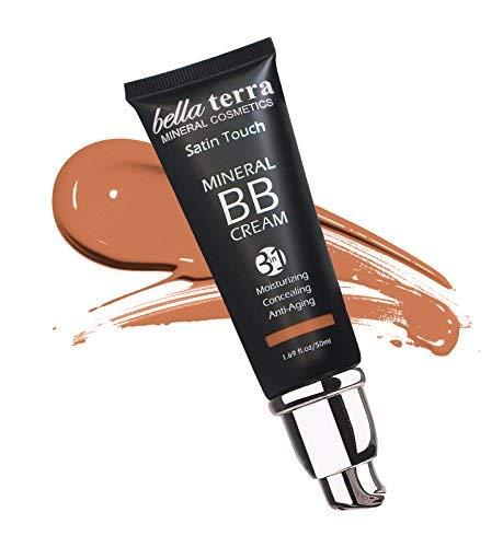 BB Cream Matte finish 3-in-1 Mineral Makeup Foundation - Tinted Moisturizer - Concealer - Satin touch - Light to Dark Skin Tones - Natural SPF - Hypoallergenic (1.69 Oz) - Dark Tan 107 by Bella Terra