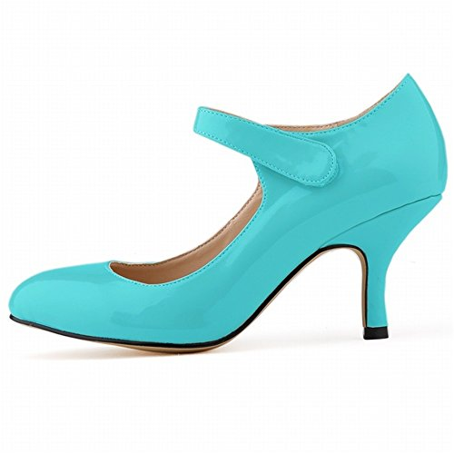 High Solid Pointed Color Shallow Womens Pumps Toe Blue Mouth Heel 24XOmx55S99 Shoes XCt8cqwXy