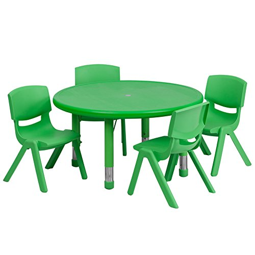 Flash Furniture 33'' Round Adjustable Green Plastic Activity Table Set with 4 School Stack Chairs by Flash Furniture