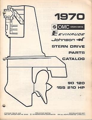 1970 EVINRUDE/JOHNSON STERN DRIVE MODELS 90, 120, 155, 210 HP PARTS MANUAL (251)