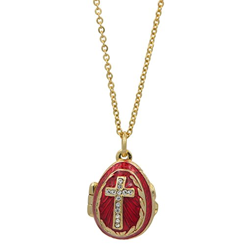 Enamel Egg Pendant - BestPysanky Red Enamel Crystal Cross Royal Egg Pendant Necklace 22