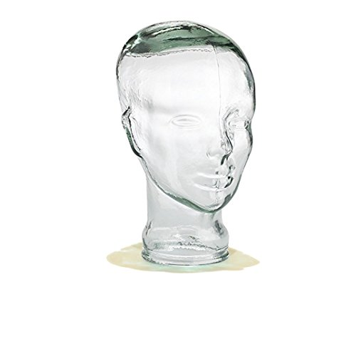 Recycled Spanish Glass Heads for Decoration, Hat Stand, Wig Stand, Headphone Stand, and More - Assorted Styles and Colors from Cerebrum Shoppe (Head - Clear Green) -