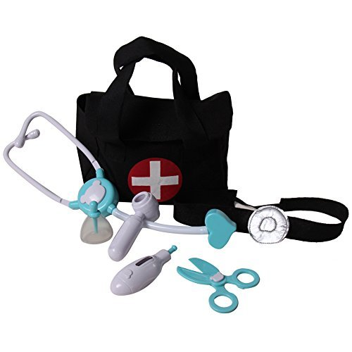 Lil' Doctor / Nurse Medical First Aid 8 Piece Play Set, Black/Blue