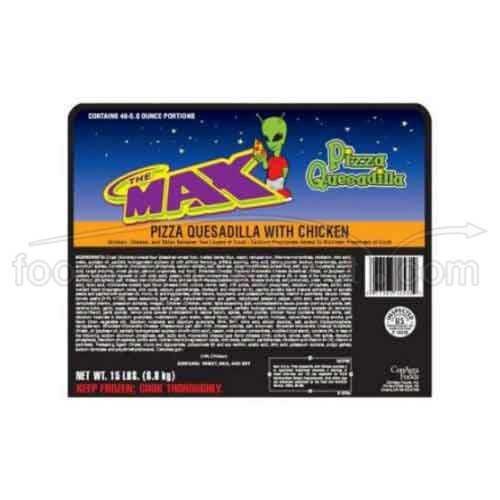 Conagra Gilardi The Max Whole Grain Chicken Pizza Quesadilla, 5 Ounce - 96 per case.