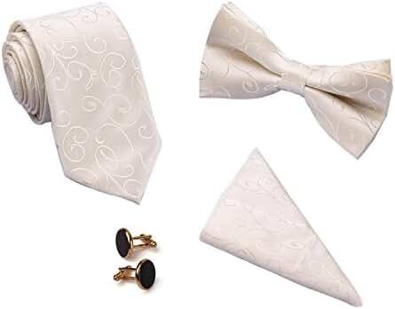 Bow Tie Necktie Pocket Square and Cuff Link Set Wedding Necktie and Bow Tie Set
