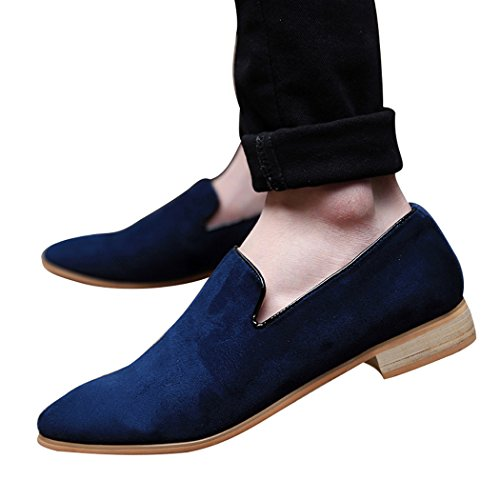 Sun Lorence Men Fashion Suede Leather Shoes Heeled Suede Oxford Slip-on Loafers Blue aas6o8M