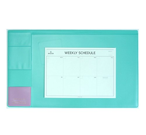 Logo Desk Pad (There`s Desk Pad with A4 Size Weekly Schedulers, 21.6 X 12.8 Inch Desk Mat Clear Transparent Cover (Mint))