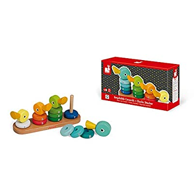 Janod Duck Family Stacker – Adorable Classic Wooden Stacking Toy – Educational Toy Encourages Color and Number Recognition – Helps Early Childhood Development and Hand-Eye Coordination – Ages 1+ years: Toys & Games