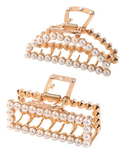 - Women Pearl Hair Claw Clips - 2 Pcs Set Pearls Hair Accessories, Fashion Large Jaw Clamp Barrettes, Cute Styling Gifts for Girls
