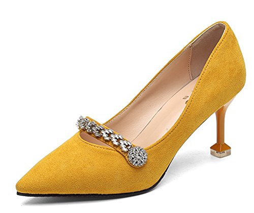 Aisun Damen Sexy Strass Blumen Spitz Zehen Riemchen Kitten Heel Low Top Pumps