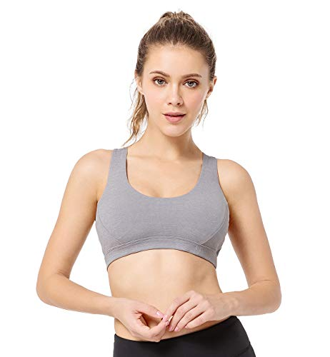 Yvette Sports Gym Yoga Bra Full Figure Thin Strappy Workout Bra for Womens Pilates Fitness Activities Body Measuring Tape,Grey, 2XL(AC)