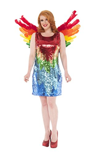[Delicious Sequin Front Pull Over Dress Polly, Multi, 1X] (Parrot Costume Wings)