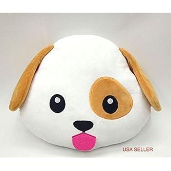 Amazon.com: PUPPY DOG Emoji Pillow Smiley Emoticon Yellow Round Cushion Stuffed Plush Soft Toy ...