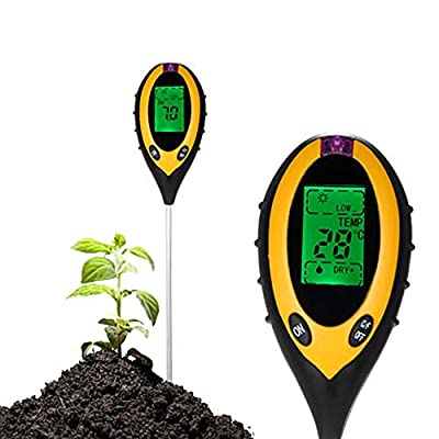 Hi-Fun Soil pH Meter, 4 in 1 Soil Moisture Light pH Temperature Tester Analyzer Gardening Tool Kits for Plant Care Garden, Lawn, Farm, Indoor & Outdoor Use