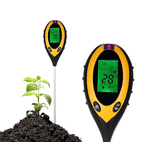 F Finec 4-in-1 Soil Tester, Light Intensity Soil Moisture Content Temperature PH Large LCD Backlit Display for Garden Farm Lawn