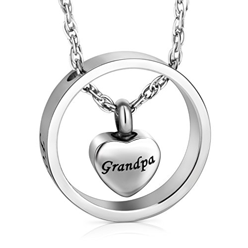 XIUDA Cremation Jewelry for Ashes, Forever in My Heart Carved Locket for Grandpa