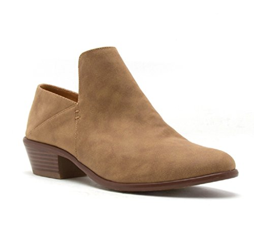 Chunky Tan Block Slip Ankle Stylish Boots Women's on Booties Western Comfortable Cowboy Heel ZwqHIWSx