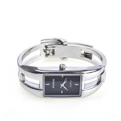 Black Dial Silver Bracelet (TOOGOO Alloy Case Bracelet Black Dial Modern Silver Fashion Women Quartz Watches)