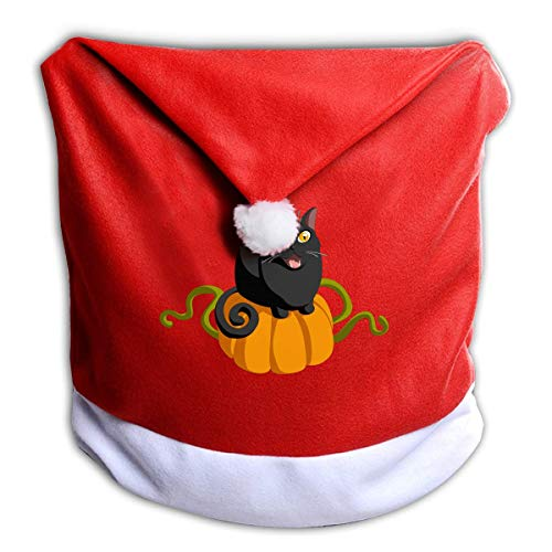 Black Cat On Halloween Pumpkin Non-Woven Xmas Christmas Themed Dinner Chair Cap Hat Covers Set Ornaments Backers Protector for Seat Slipcovers Wraps Coverings Decorations ()