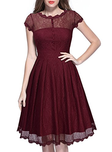 Miusol Women's Retro Floral Lace Cap Sleeve Vintage Swing Bridesmaid Dress (XXX-Large, Wine Red)