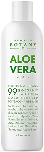 Aloe Vera Gel 8 oz - from Organic Cold Pressed Aloe - Soothes and Hydrates Dry, Itchy, or Irritated Skin; great for Acne, Dandruff, Sunburn, Rashes - Brooklyn Botany