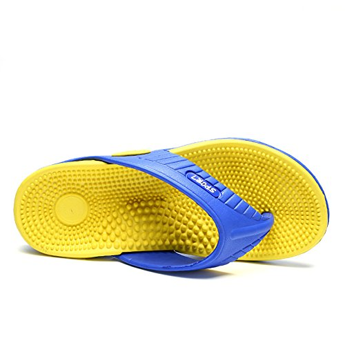 Scurtain Mens Casual Massage Flip Flop Slippers Comfortable Pool Beach Sandal Yellow FlaITehfaC
