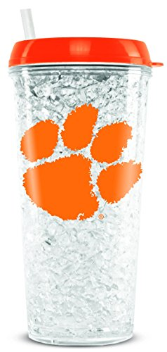 NCAA Clemson Tigers 16oz Crystal Freezer Tumbler with Lid and Straw
