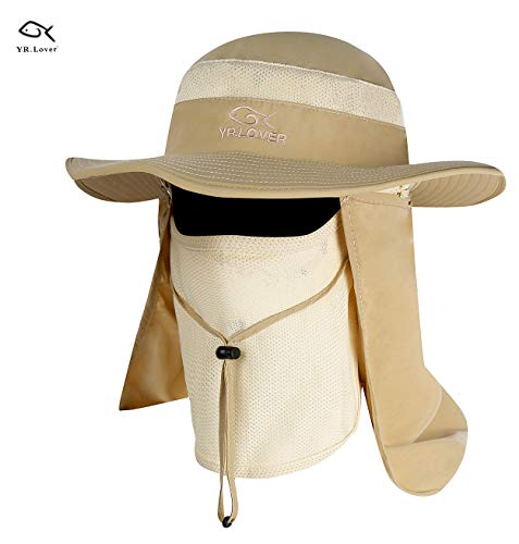 (YR.Lover Outdoor UV Sun Protection Wide Brim Fishing Cap -Men and Women Face Cover Summer Removable Mesh Neck Face Flap Gardener Hat for Outdoor Sports & Travel)